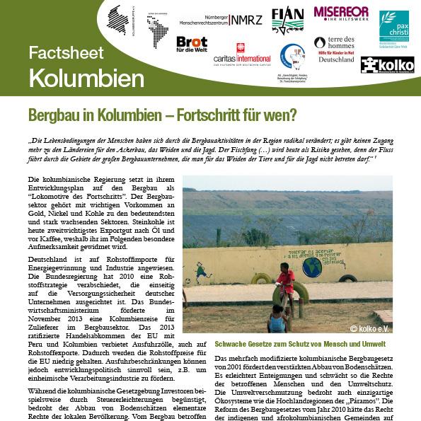Factsheet: Bergbau in Kolumbien – Entwicklung für wen?