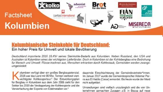 Kolumbianische Steinkohle für Deutschland: Hoher Preis für Umwelt und lokale Bevölkerung. Factsheet.