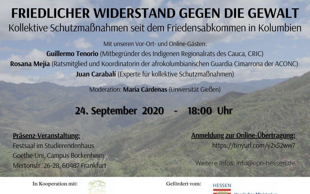 24.09: Podiumsgespräch:Friedlicher Widerstand gegen die Gewalt – Kollektive Schutzmaßnahmen seit dem Friedensabkommen in Kolumbien