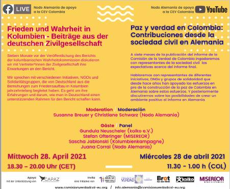 28.04, 18:30 Uhr: Frieden und Wahrheit in Kolumbien – Beiträge aus der deutschen Zivilgesellschaft