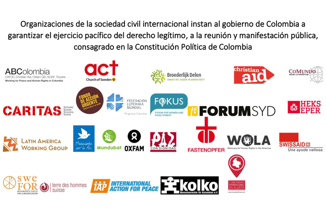 We urge the Colombian Government to guarantee the peaceful exercise of the right to assembly