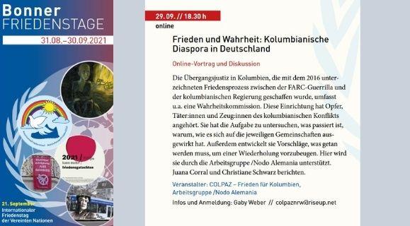 29.09, 18:30: oNLINE VERANSTALTUNG-Frieden und Wahrheit: Kolumbianische Diaspora in Deutschland
